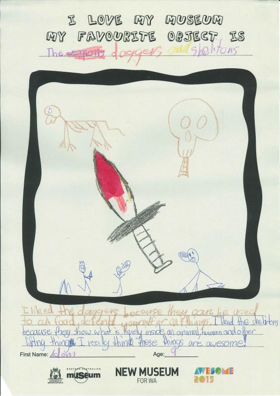 child's drawing of daggers and skeletons