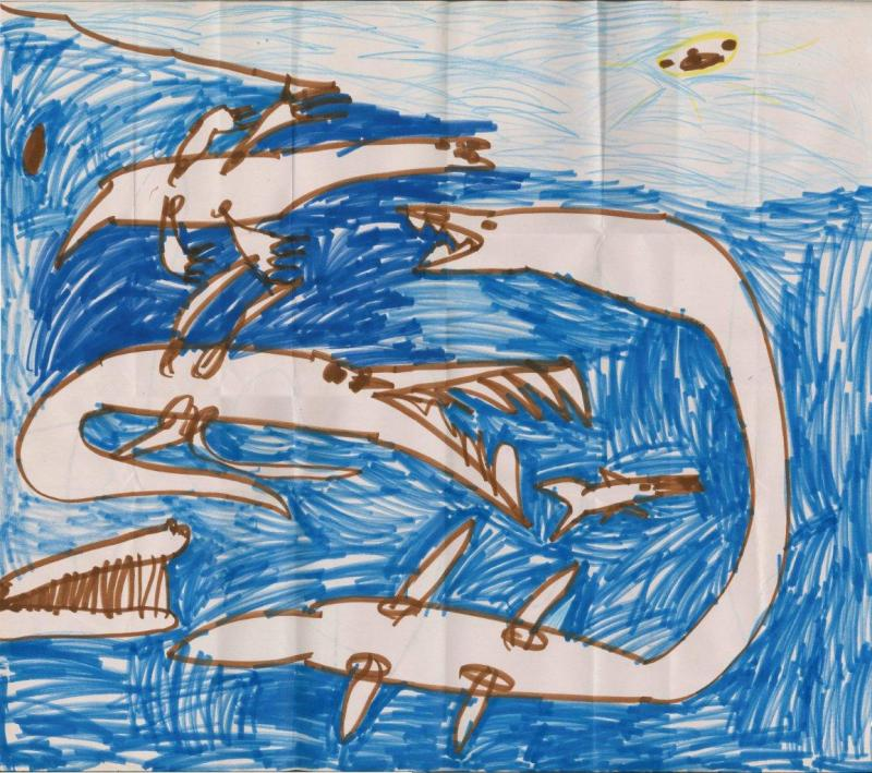 child's drawing of sea monster dinosaur