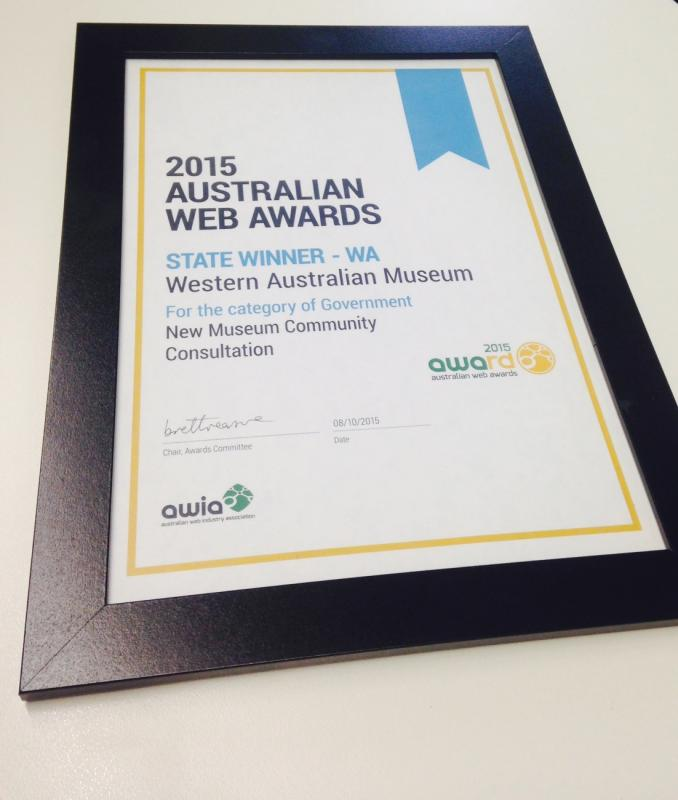 framed certificate of Australian Web Awards - State Winner - WA, New Museum