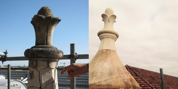 Stone tourelle which sit on top of the Museum.  Left image is prior to restoration and the tourelle is showing cracks, the right is post restoration and is clean and fixed