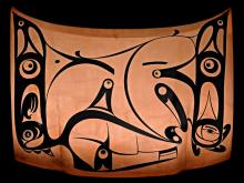 A Copper car bonnet painted with stylised animal/bird characters