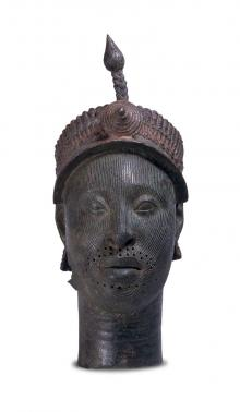 Ife head free-standing brass head cast in the lost wax technique