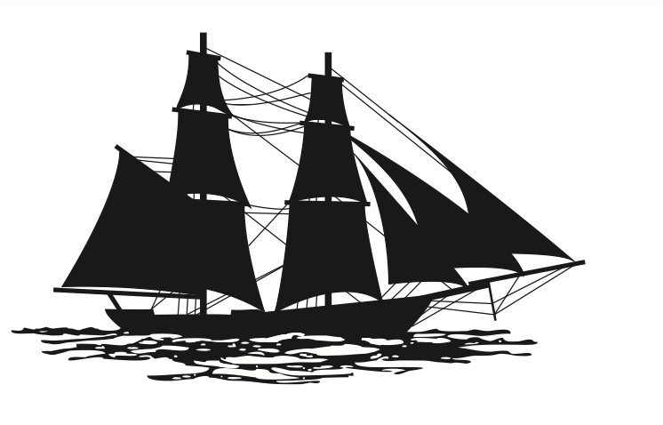 Silhouette of a brig