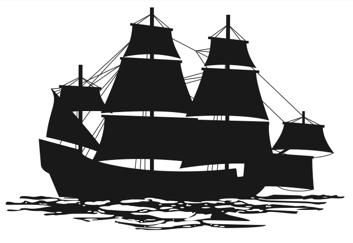 Silhouette of a retoutschip and jacht