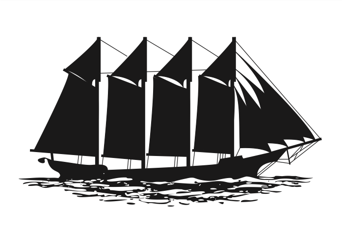 Silhouette of a schooer four masted