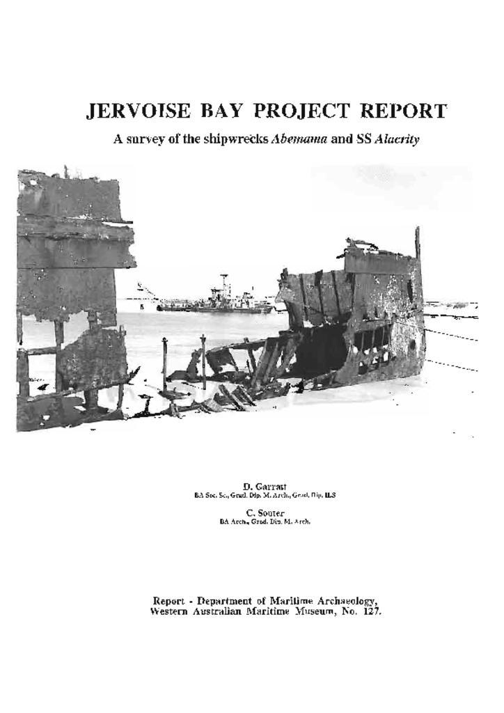 Jervoise Bay Project Report - A survey of the shipwrecks