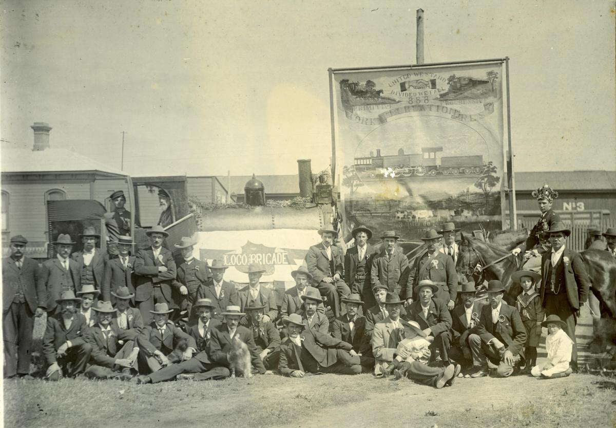 """PHOTOGRAPH, """"Locomotive Committee and others interested in the Procession 1903"""""""