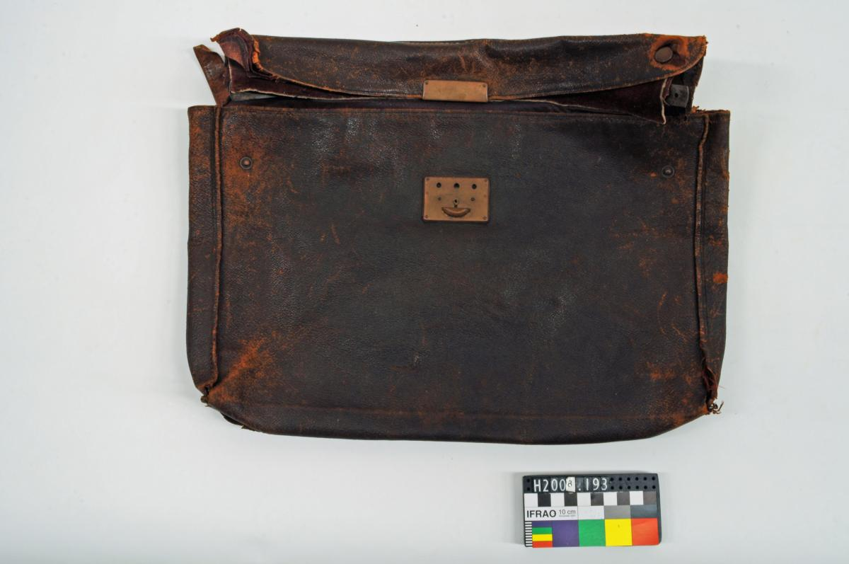 SATCHEL, brown, leather, damaged