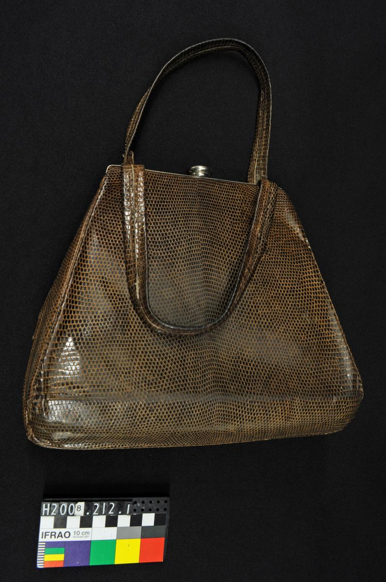 HANDBAG, reptile skin, gold plated clasp