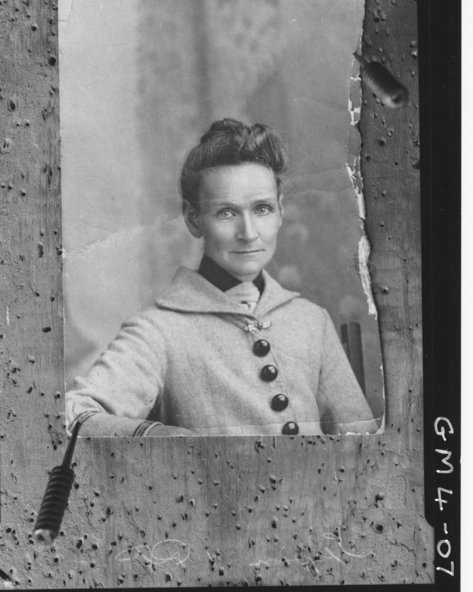 Board pinned copy of portrait of woman, H/S Irwin/Irvin?