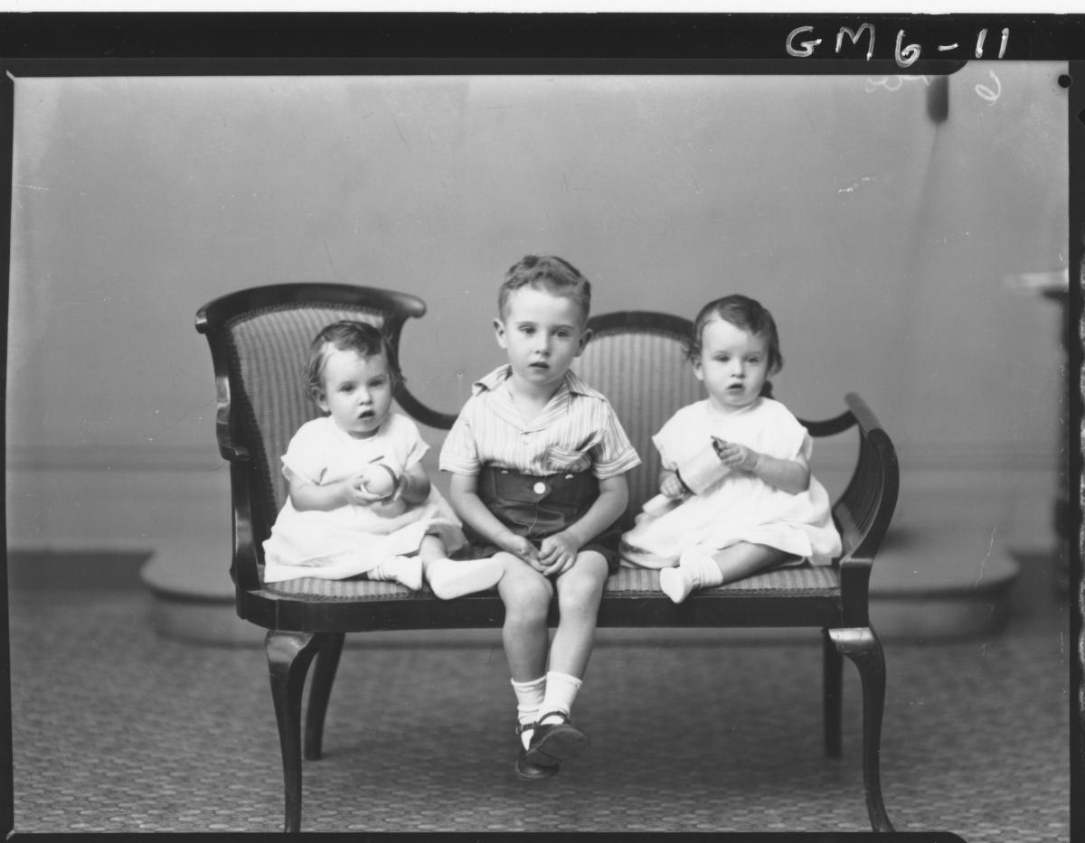 Portrait of three young children, F/L Kent.