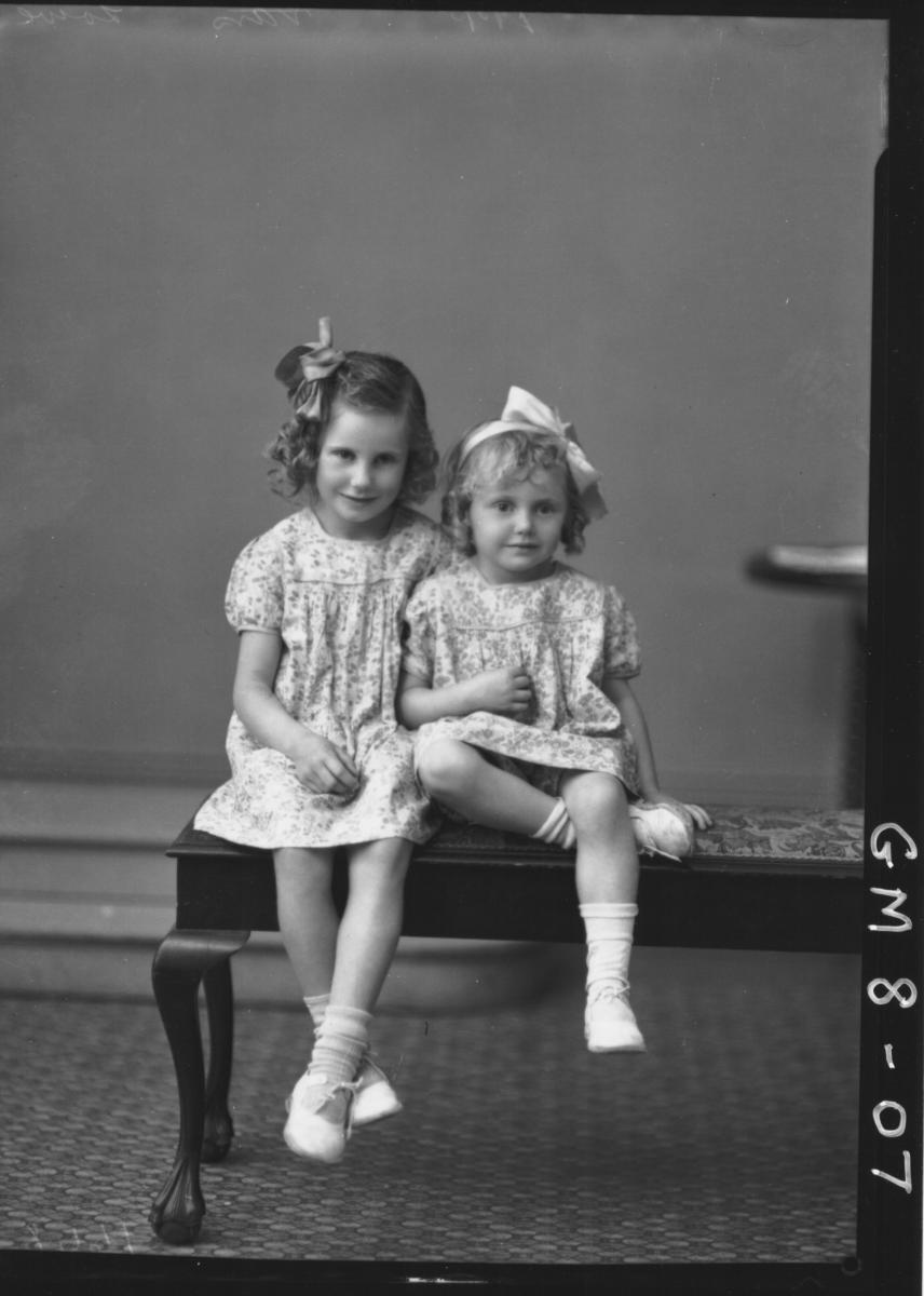 Portrait of two young girls, F/L Lowe.