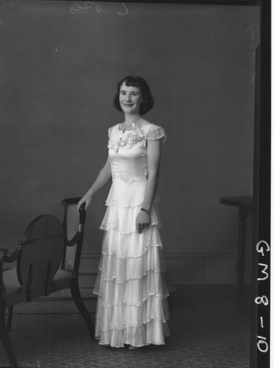 Portrait of woman in evening dress, F/L Kilberry.