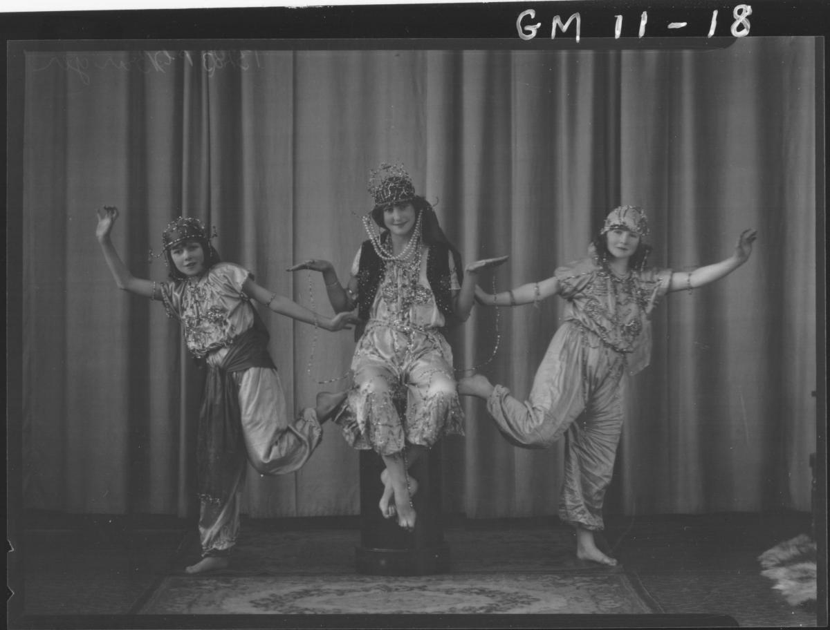 Portrait of three girls in Arab costume, F/L 'Barger'