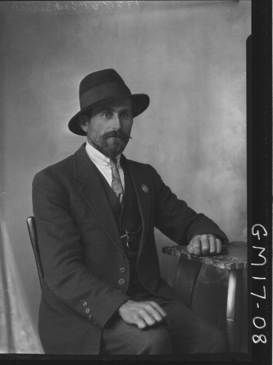 portrait of man with black beard H/S, 'Berwick'