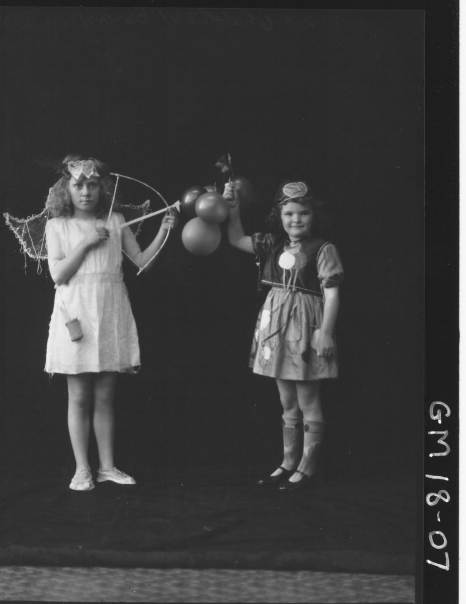 portrait of two girls in fancy dress costume F/L, 'Boyd'