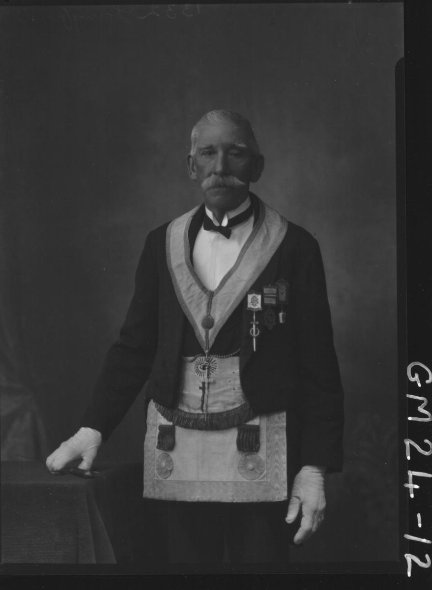 portrait of old man in full masonic outfit with medals and  sword F/L, Langford