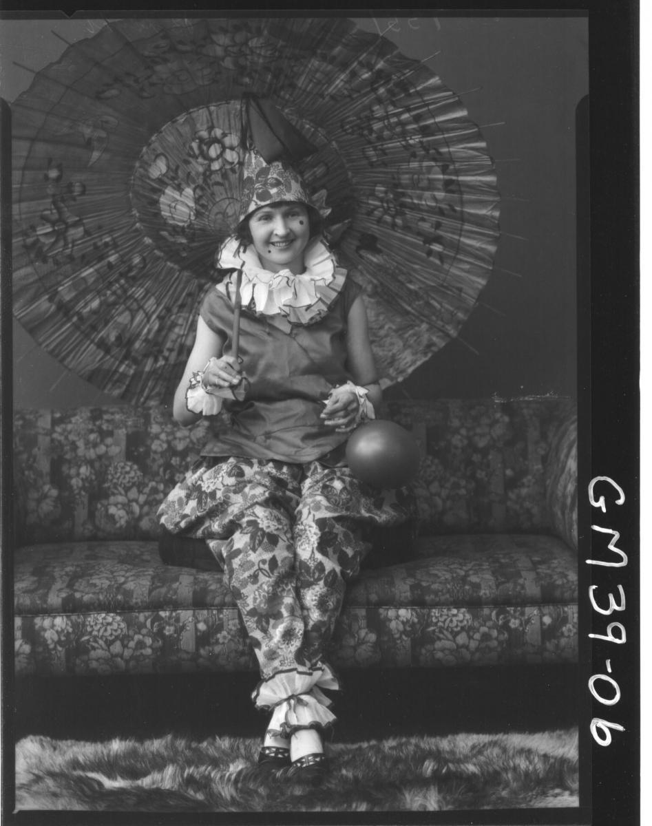 portrait of woman fancy dress clown, F/L clown Berry