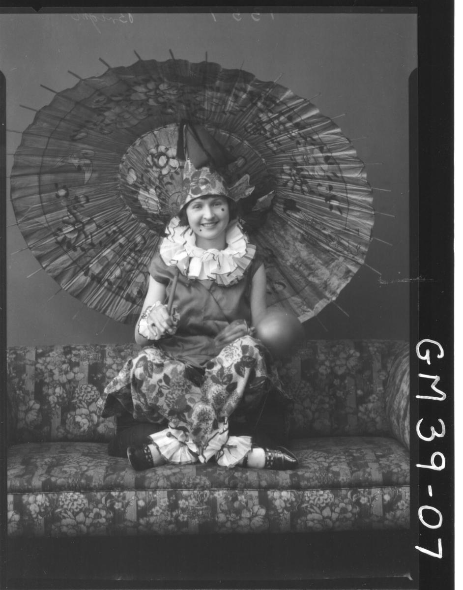 portrait of women fancy dress clown, F/L Berry