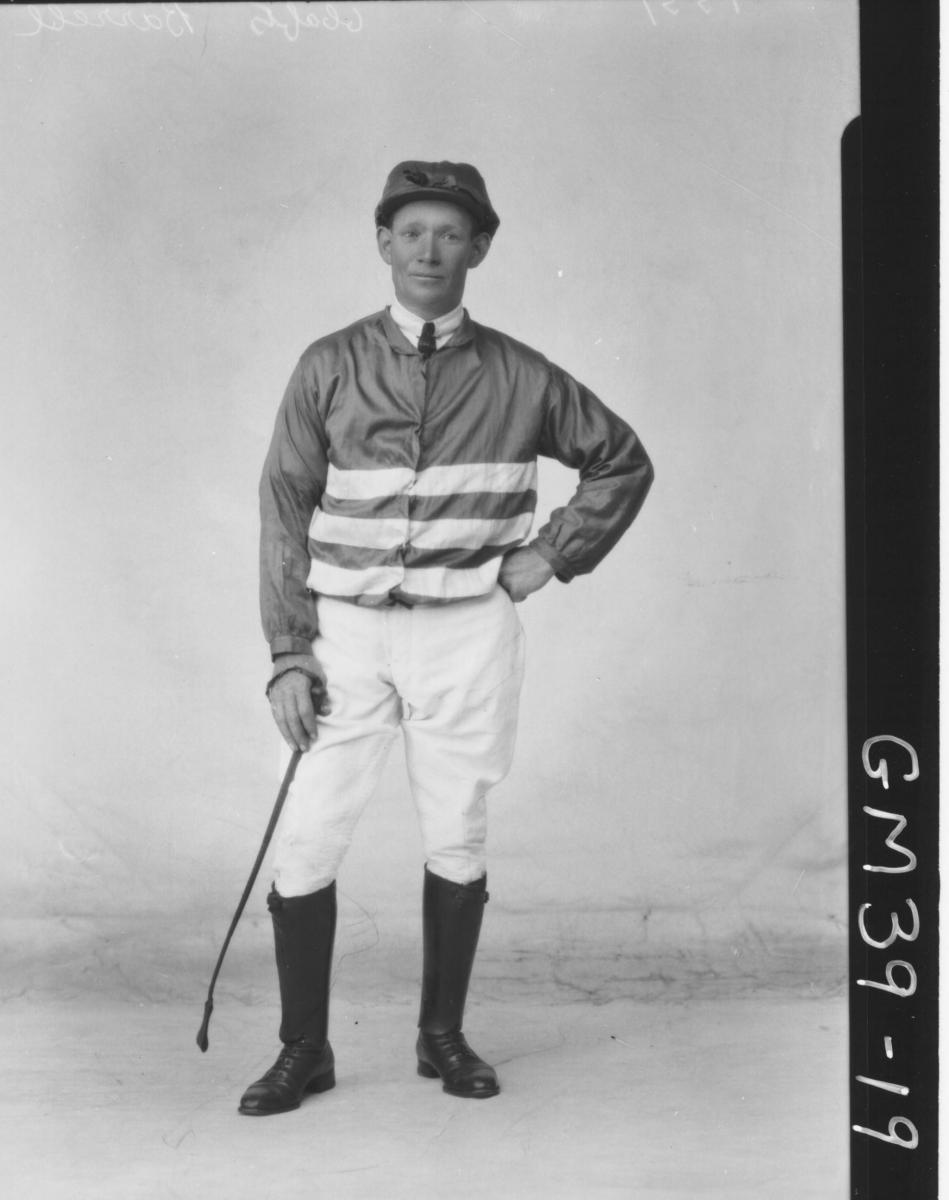 portrait of man in jockey outfit, F/L Barrell
