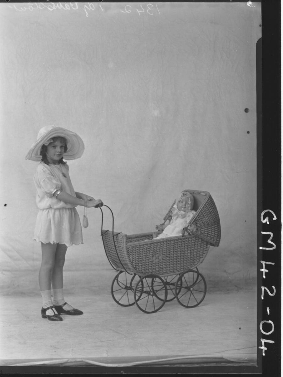 portrait of young girl with doll and pram, F/L Stout