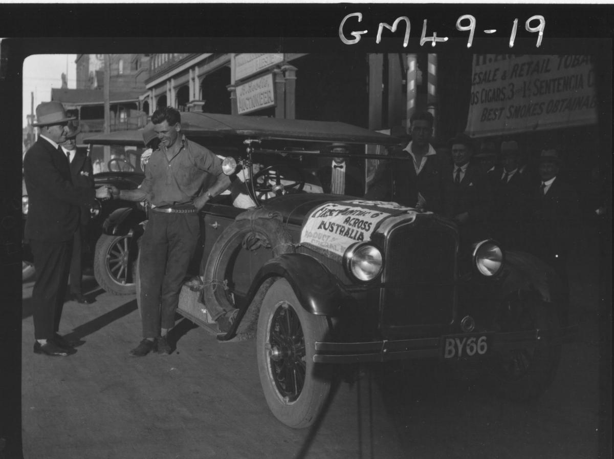 Hannan Street outside Skeppers barber shop, the first pontiac to cross Australia