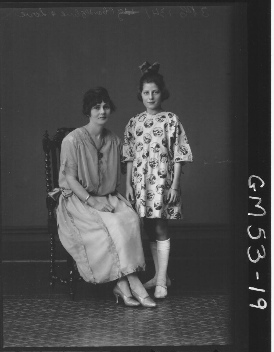 PORTRAIT OF YOUNG WOMAN AND GIRL, F/L OLIVE AND LOVE