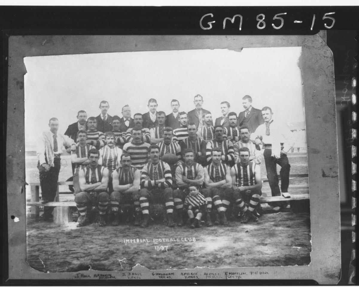 COPY OF FOOTBALL TEAM IMPERIAL FOOTBALL CLUB, J.HALL, A.RANKIN, J.DAVIS, G.WOODHAM, A.PIERCE, A.CORDD, R.MOFFLIN,  P.O'DEA