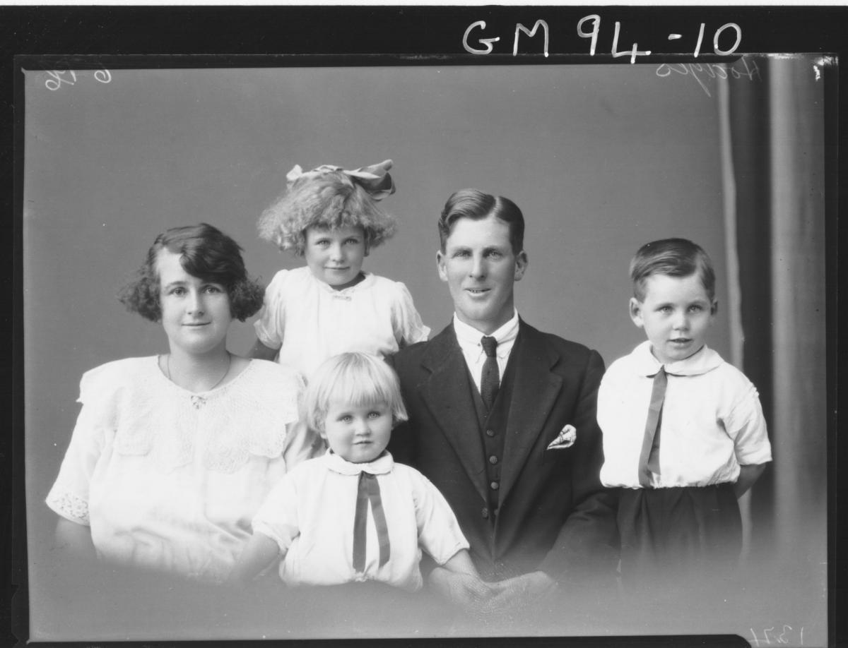 PORTRAIT MAN, WOMAN, THREE CHILDREN, 'HODGES'