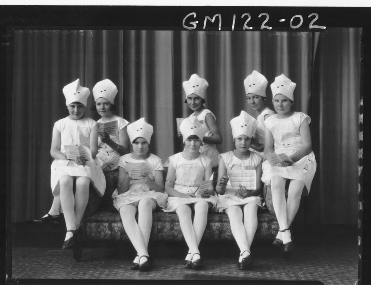 PORTRAIT OF GROUP OF GIRLS FANCY DRESS
