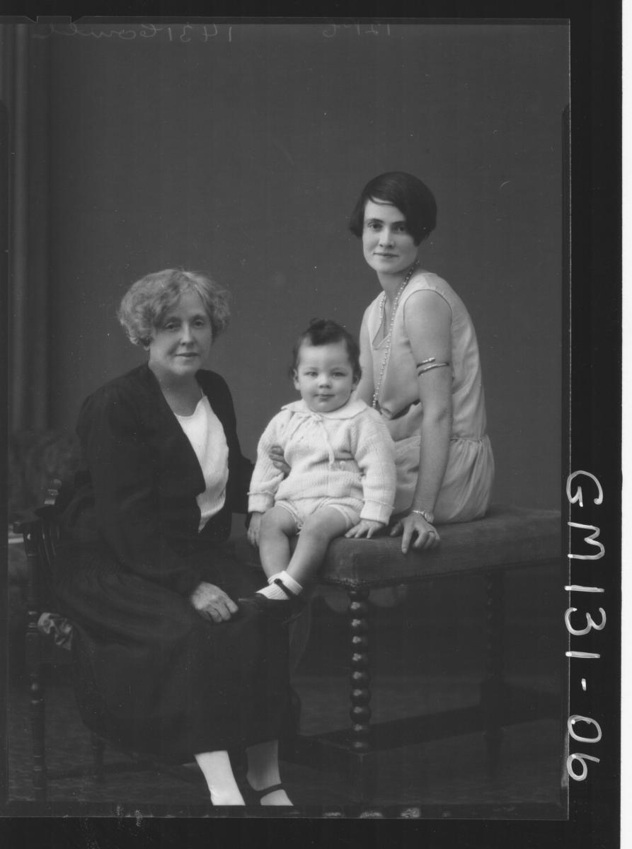 Portrait of two women and baby 'Connel'