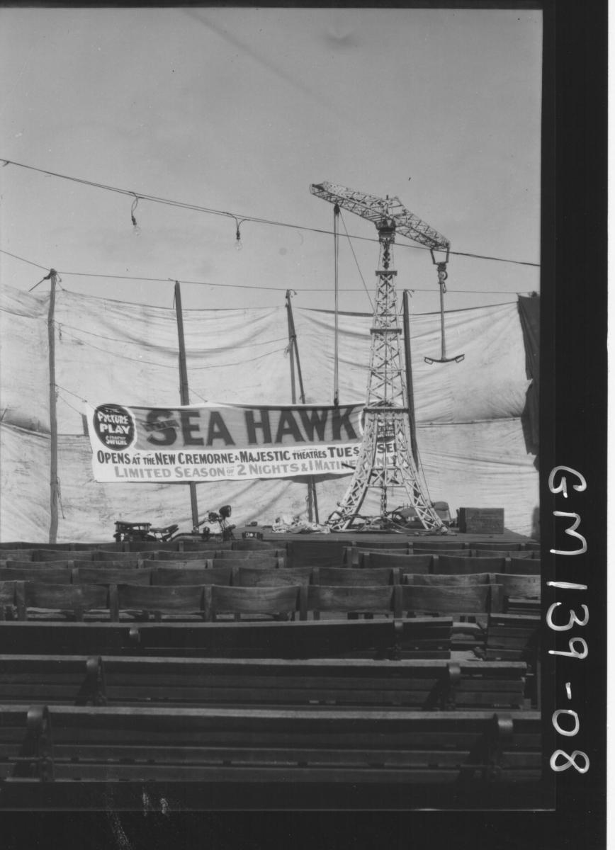 Crane setting up stage for Sea Hawk at Gremorne Theatre
