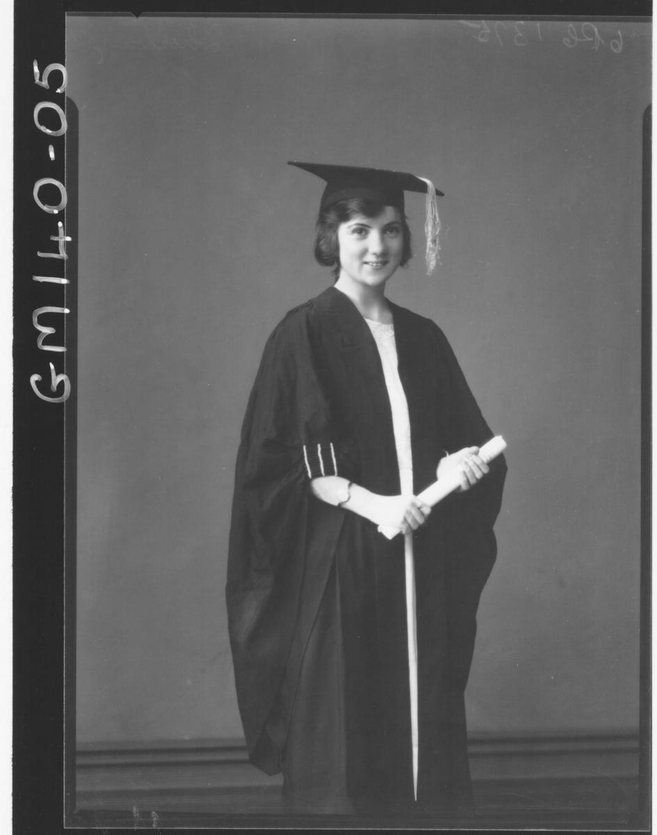 Portrait of woman in gown & cap 'Thornbury'