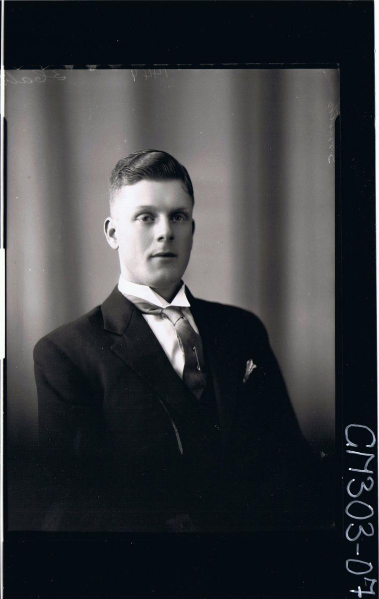 H/S Portrait of man wearing jacket, shirt, tie; 'Smith'