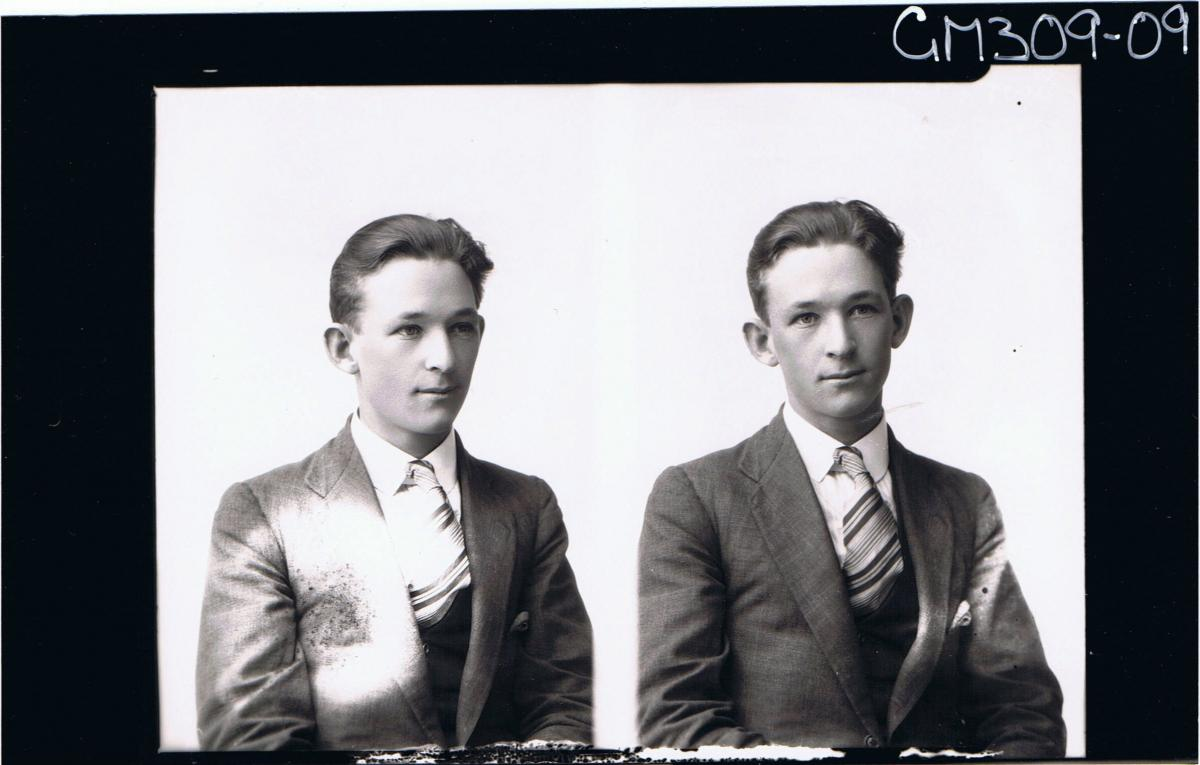 Two half length Portraits of young man wearing shirt, jacket, tie, 'Scott'