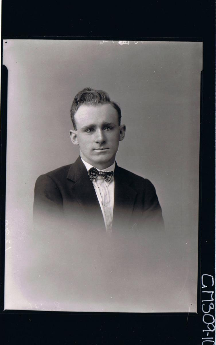 H/S Portrait of man wearing jacket, shirt, bow tie; 'Smith'