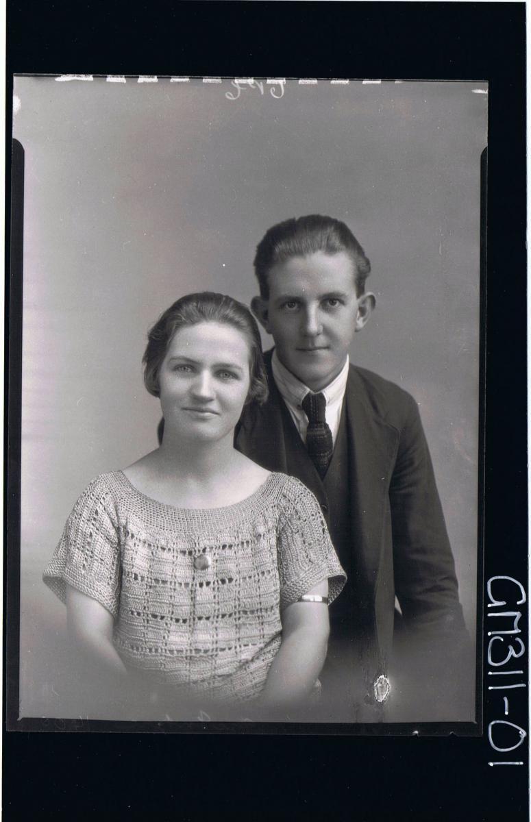 1/2 Portrait of man wearing three piece suit, woman wearing crochet dress; 'McIntyre'