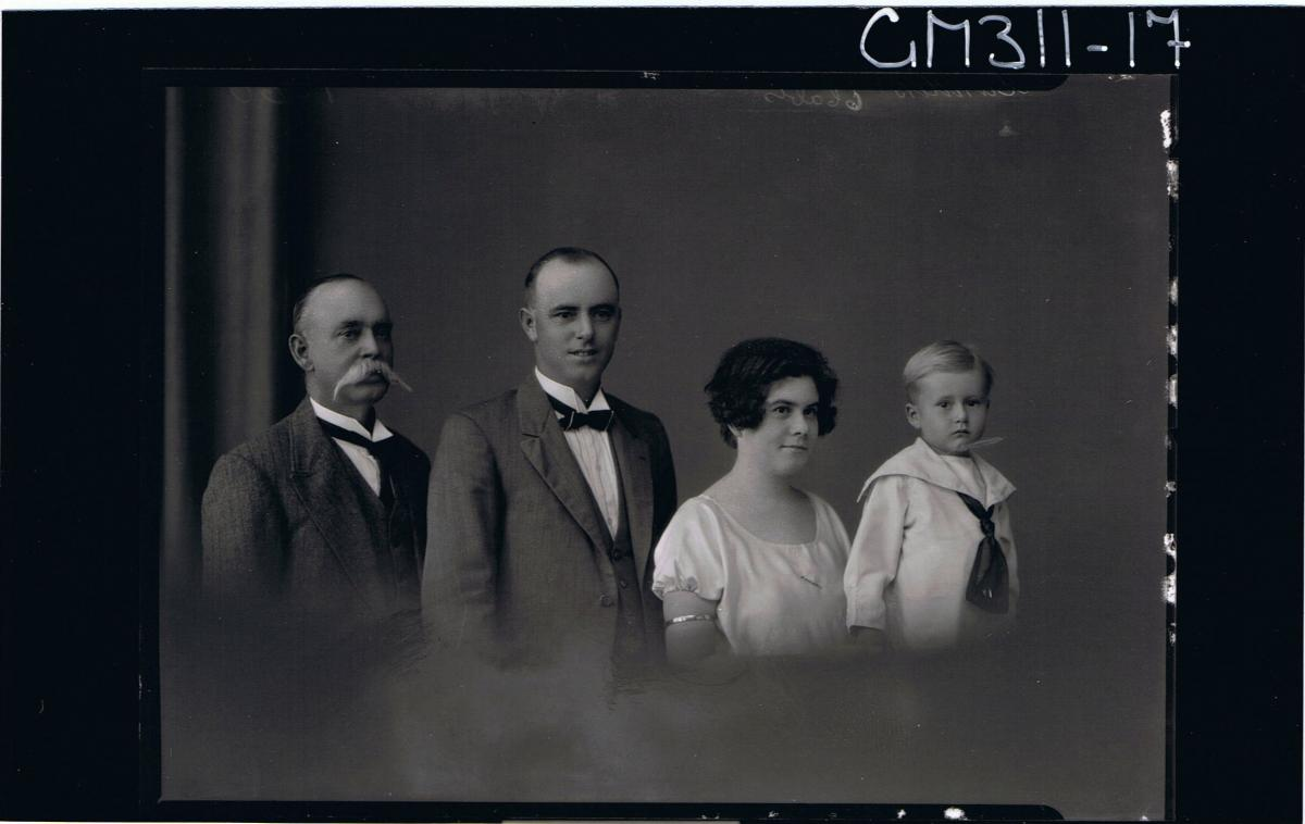 1/2 Group Portrait of elderly man with moustache,man with suit & bow tie,woman,boy with large collar on shirt 'Sanders'