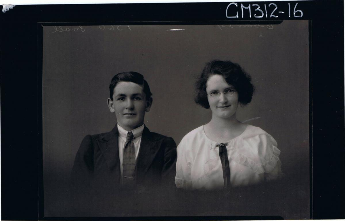 H/S Portrait of teenage boy wearing shirt, tie, jacket, young woman wearing spectacles 'Small'