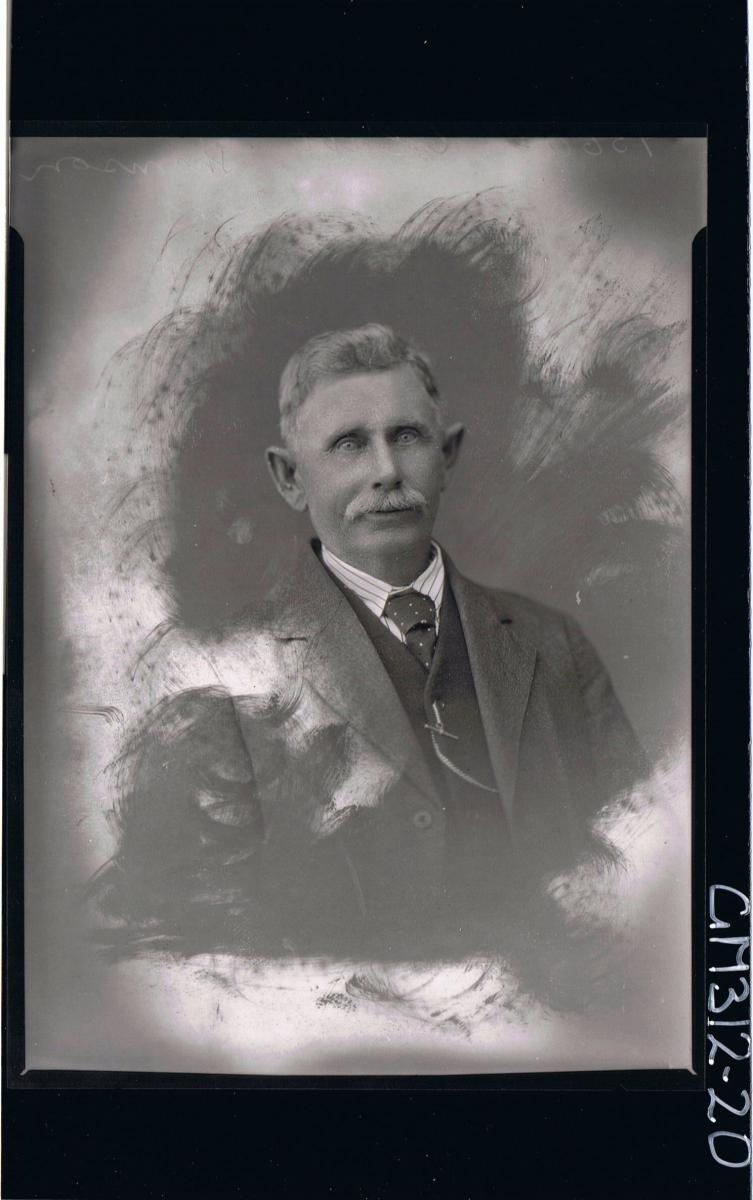 H/S Portrait of man wearing shirt, tie, vest and jacket 'Thomson'