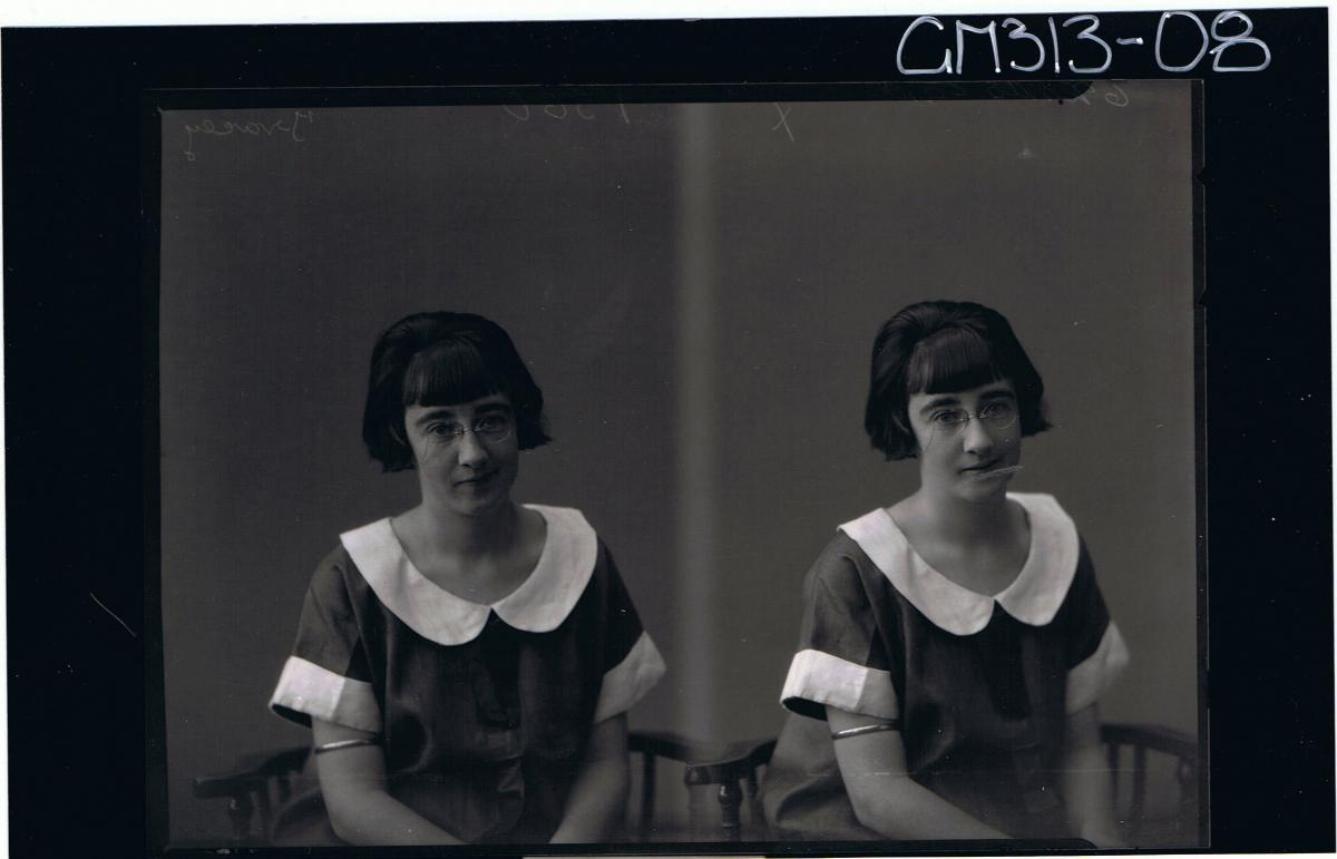 Two 1/2 Portraits of woman, seated, wearing spectacles 'Tracey' (Portrait on r/h side restored in places)