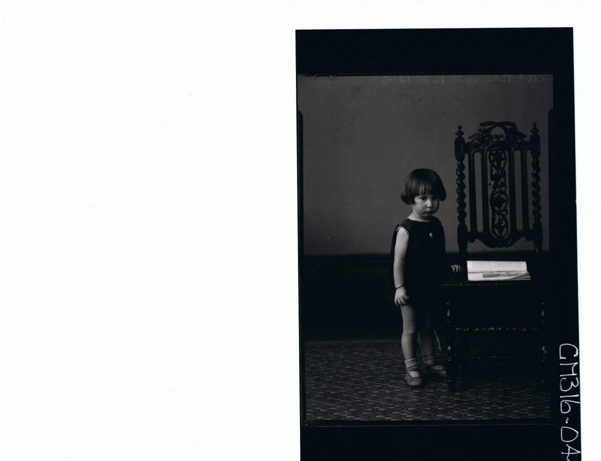 F/L Portrait of girl child standing, wearing short dress 'McPherson'