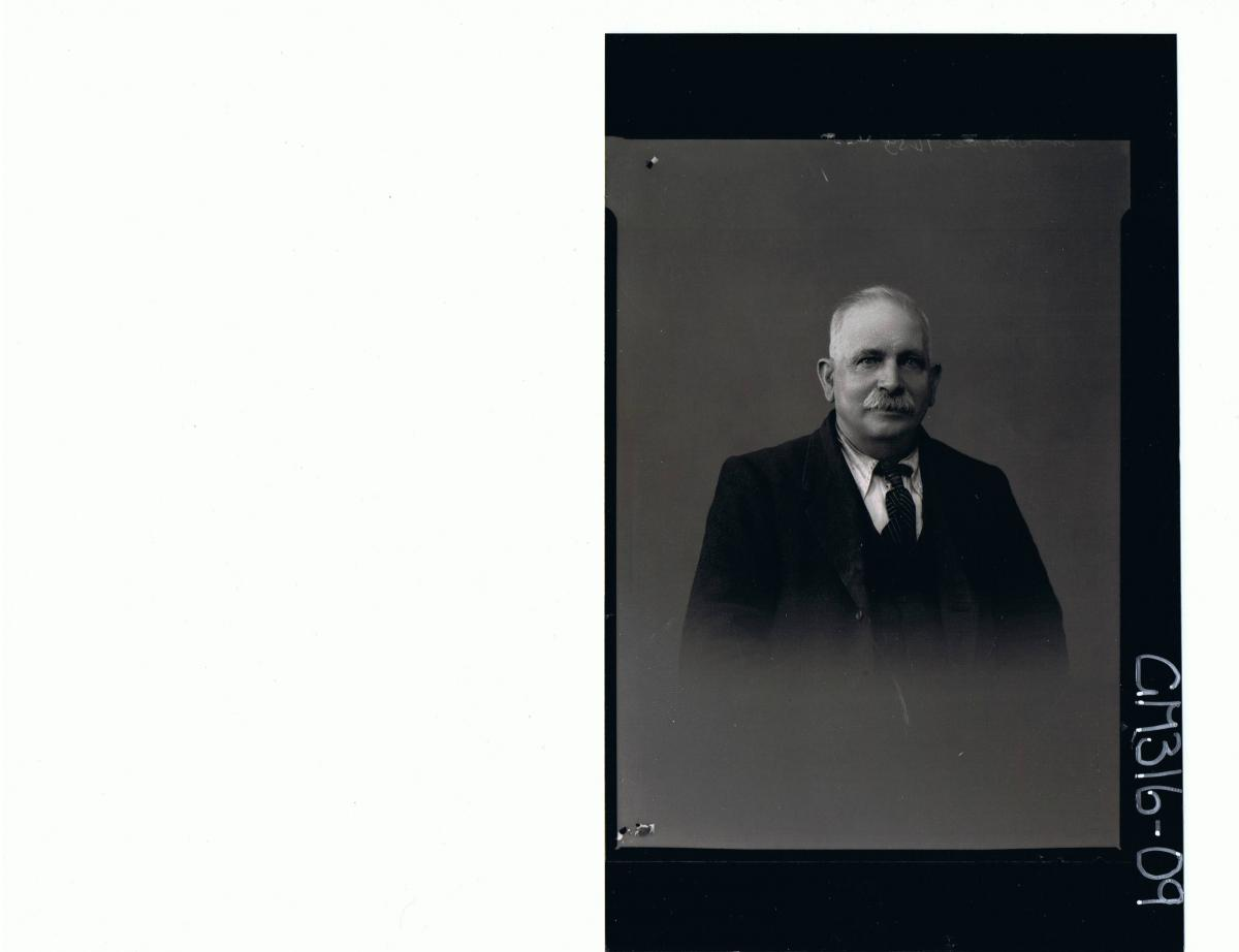 H/S Portrait of elderly man with moustache wearing three piece suit 'McDougall'