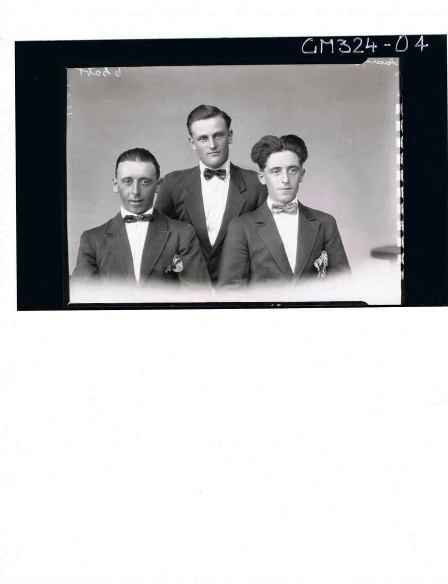 H/S Portrait of three men wearing jackets, shirt and bow ties; 'Luardi'