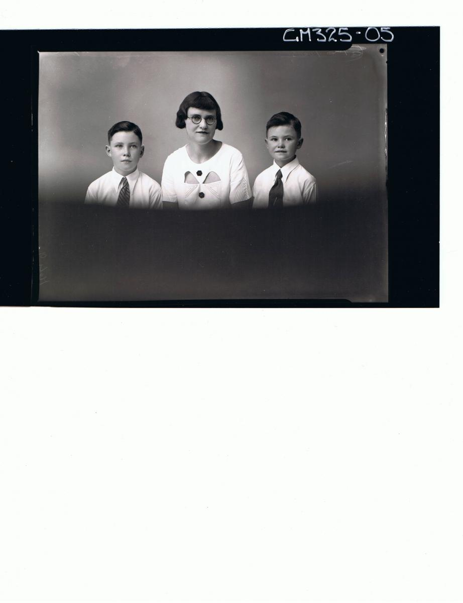 H/S Portrait of woman wearing day dress and spectacles, two boys wearing shirts & ties 'Lyall'