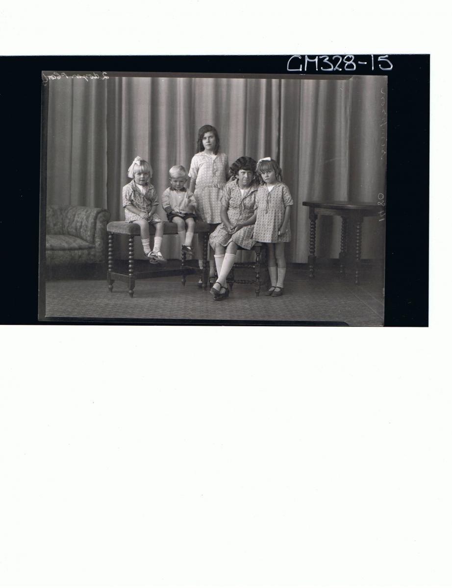 F/L Group Portrait of two girls standing, two girls and one boy seated; 'Simpson'