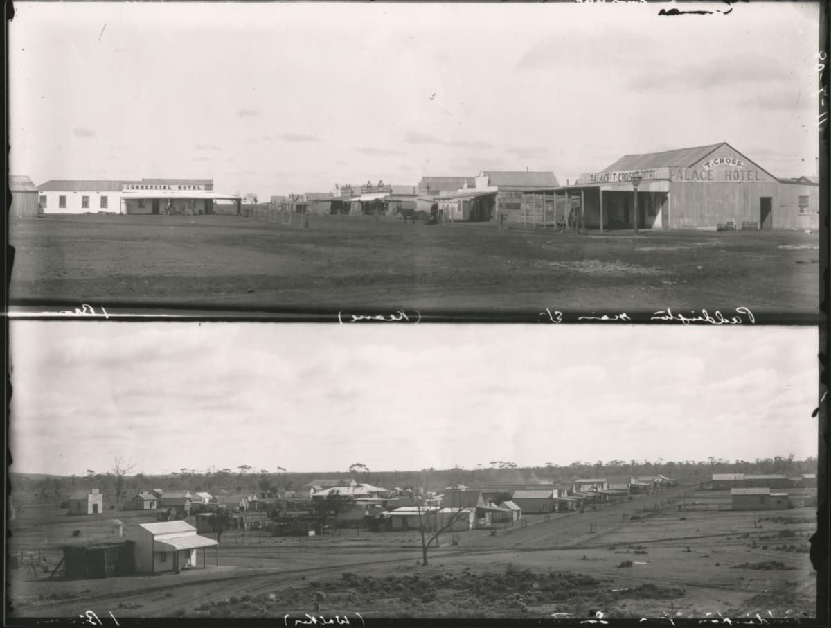 Paddington main Street, (Keane) from south, 2 views, top with Commercial Hotel and Palace Hotel bottom with streets and housing.