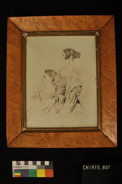 PENCIL PORTRAIT, in wooden frame