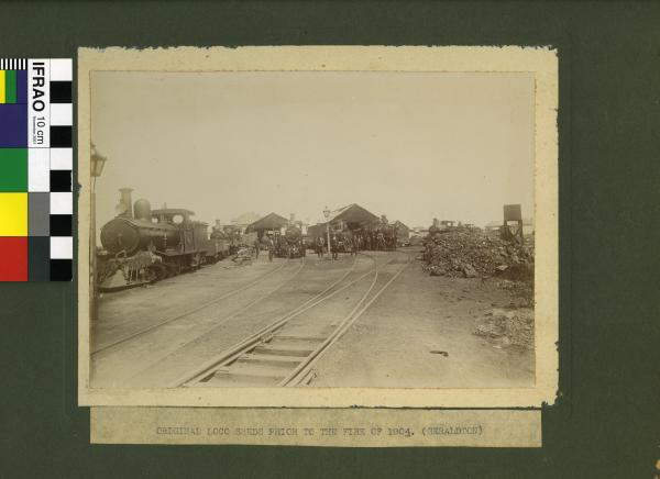 "PHOTOGRAPH, ""Original loco sheds prior to the fire of 1904 (Geraldton)"""