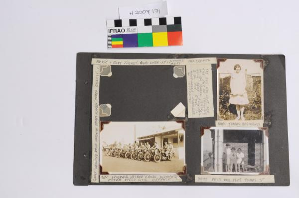 ALBUM PAGE, Black, paper, with 7 black & white photographs over both sides